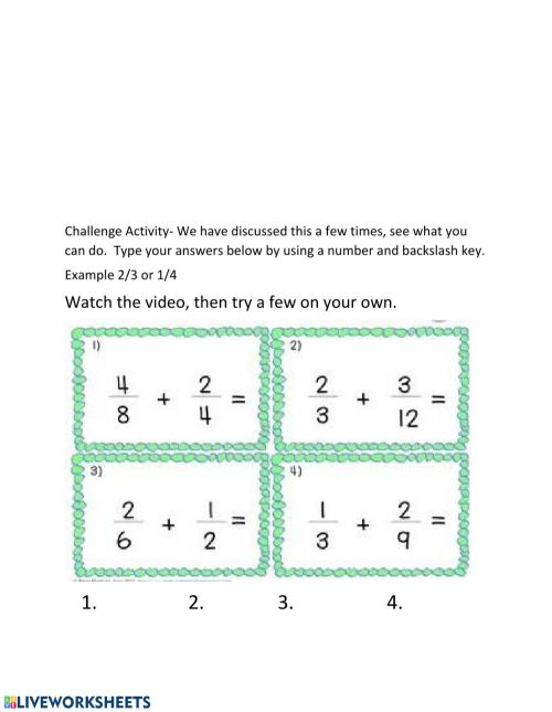 small resolution of Adding fractions worksheet