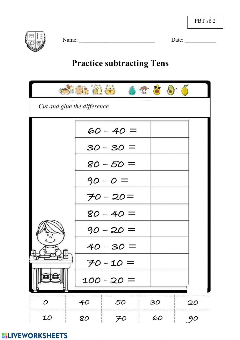 hight resolution of Subtracting Tens (PBT số 2) worksheet