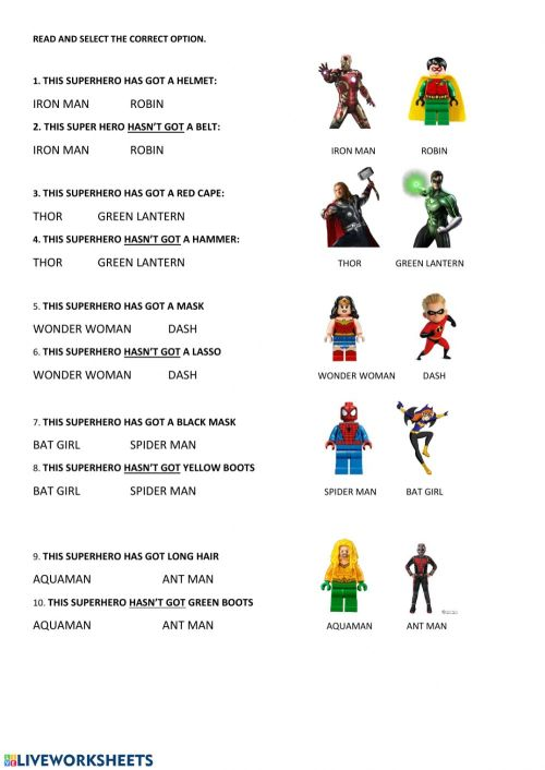 small resolution of Superheroes-Has-Hasn't got worksheet