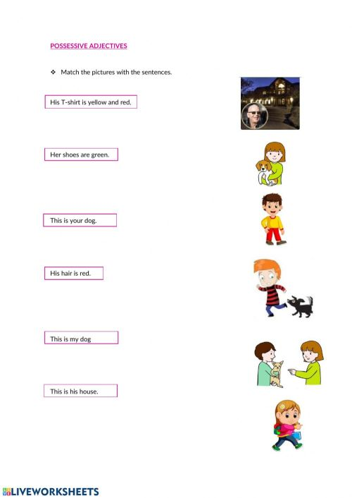 small resolution of Possessive adjectives online exercise for 4th grade
