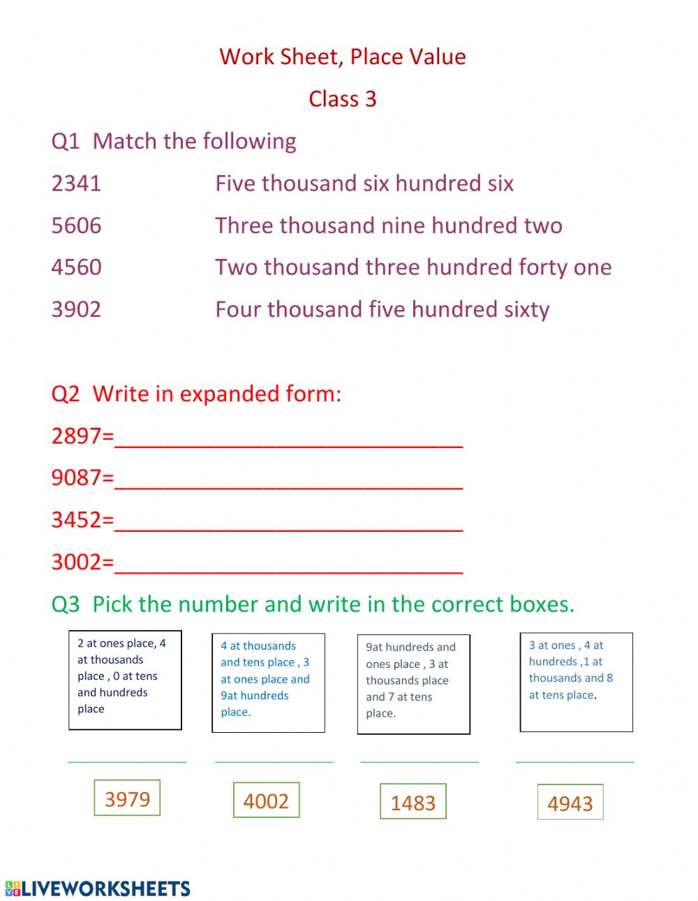 hight resolution of Place value online worksheet