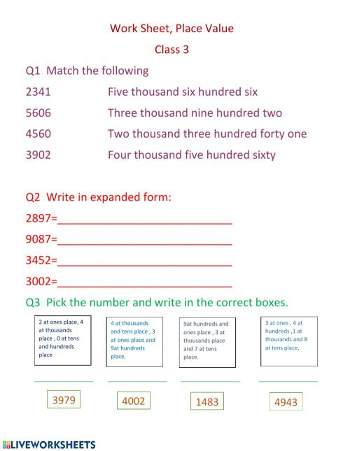 small resolution of Place value online worksheet
