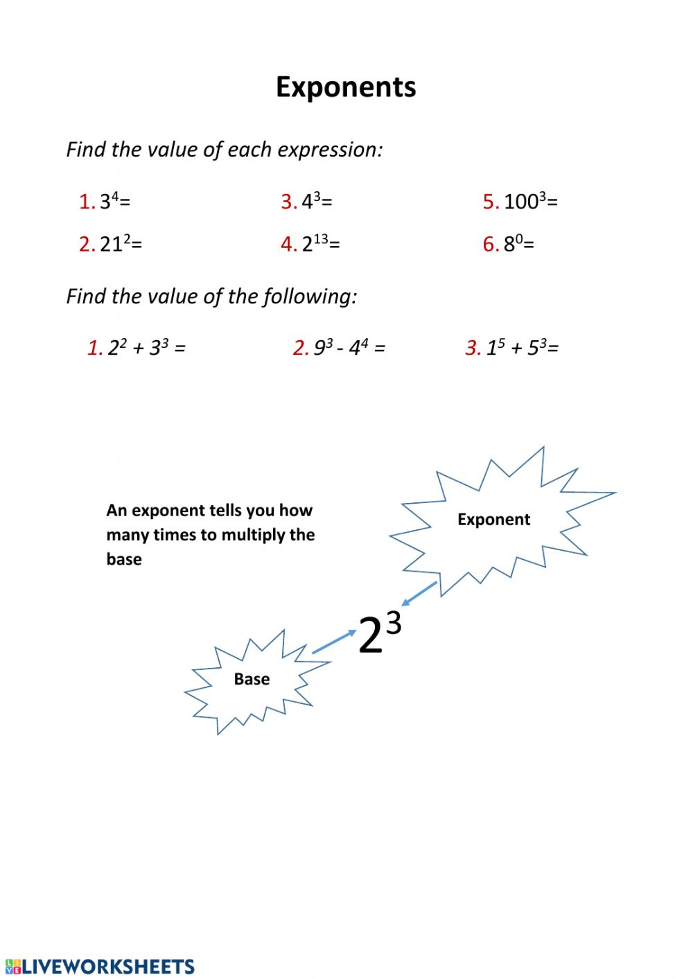 hight resolution of Exponents worksheet