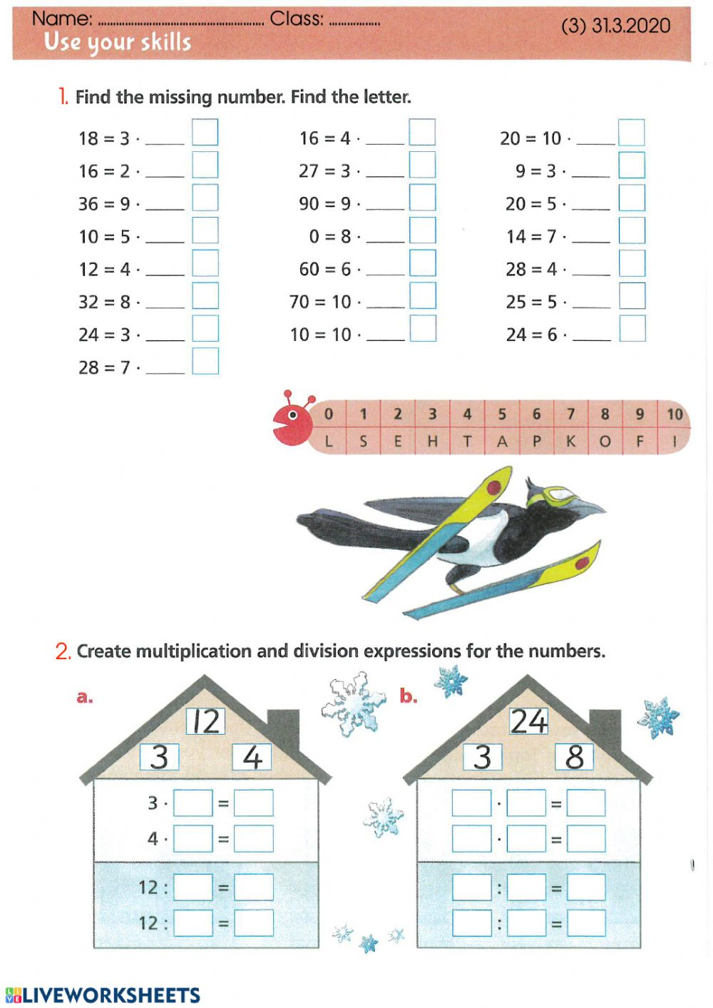 hight resolution of The relationship between multiplication and division - Year 2 worksheet