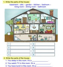 Parts of the house 3 worksheet [ 1413 x 1000 Pixel ]