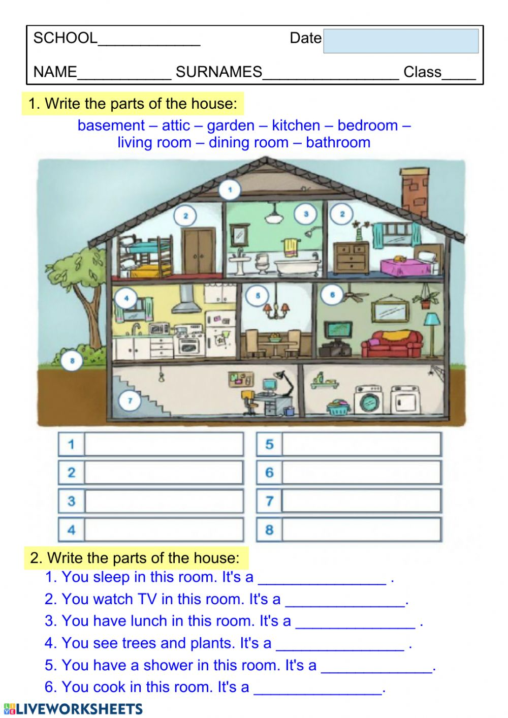 hight resolution of Parts of the house 3 worksheet