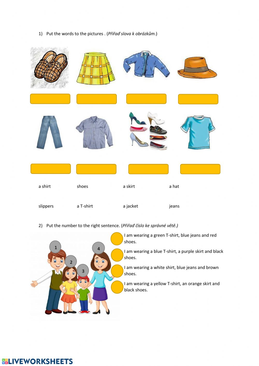 medium resolution of Clothes interactive exercise for Grade 1