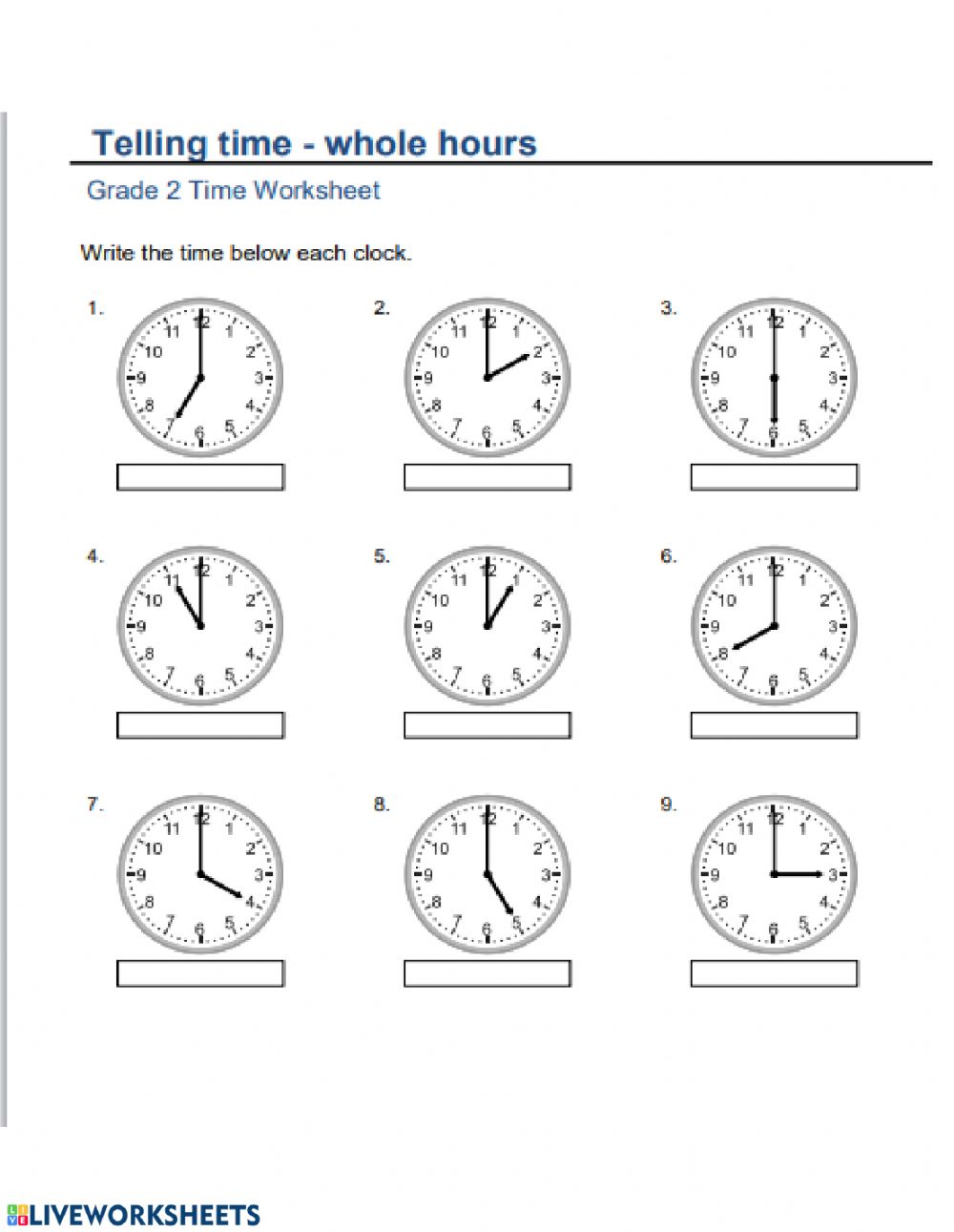 medium resolution of Time to hour worksheet