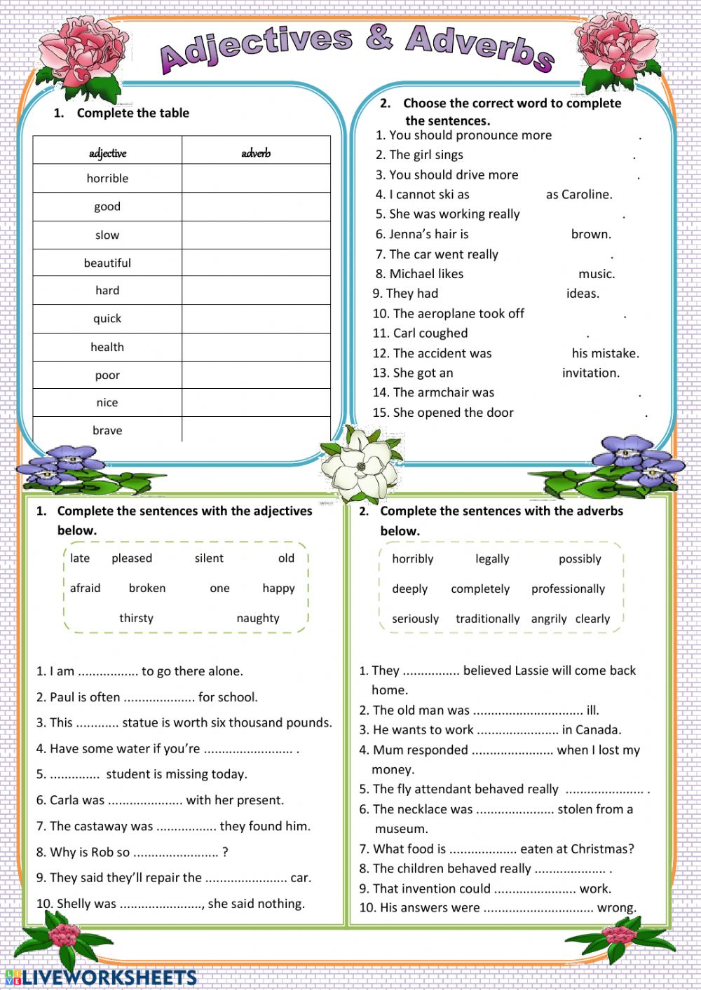 medium resolution of Adjectives-Adverbs worksheet
