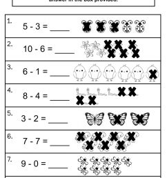 Subtraction 0-10 worksheet [ 1375 x 1000 Pixel ]