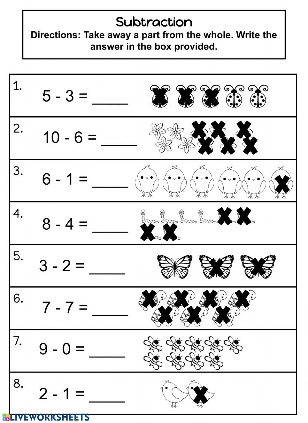 hight resolution of Subtraction 0-10 worksheet