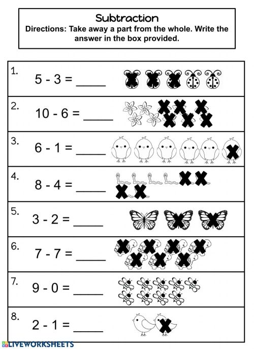 small resolution of Subtraction 0-10 worksheet