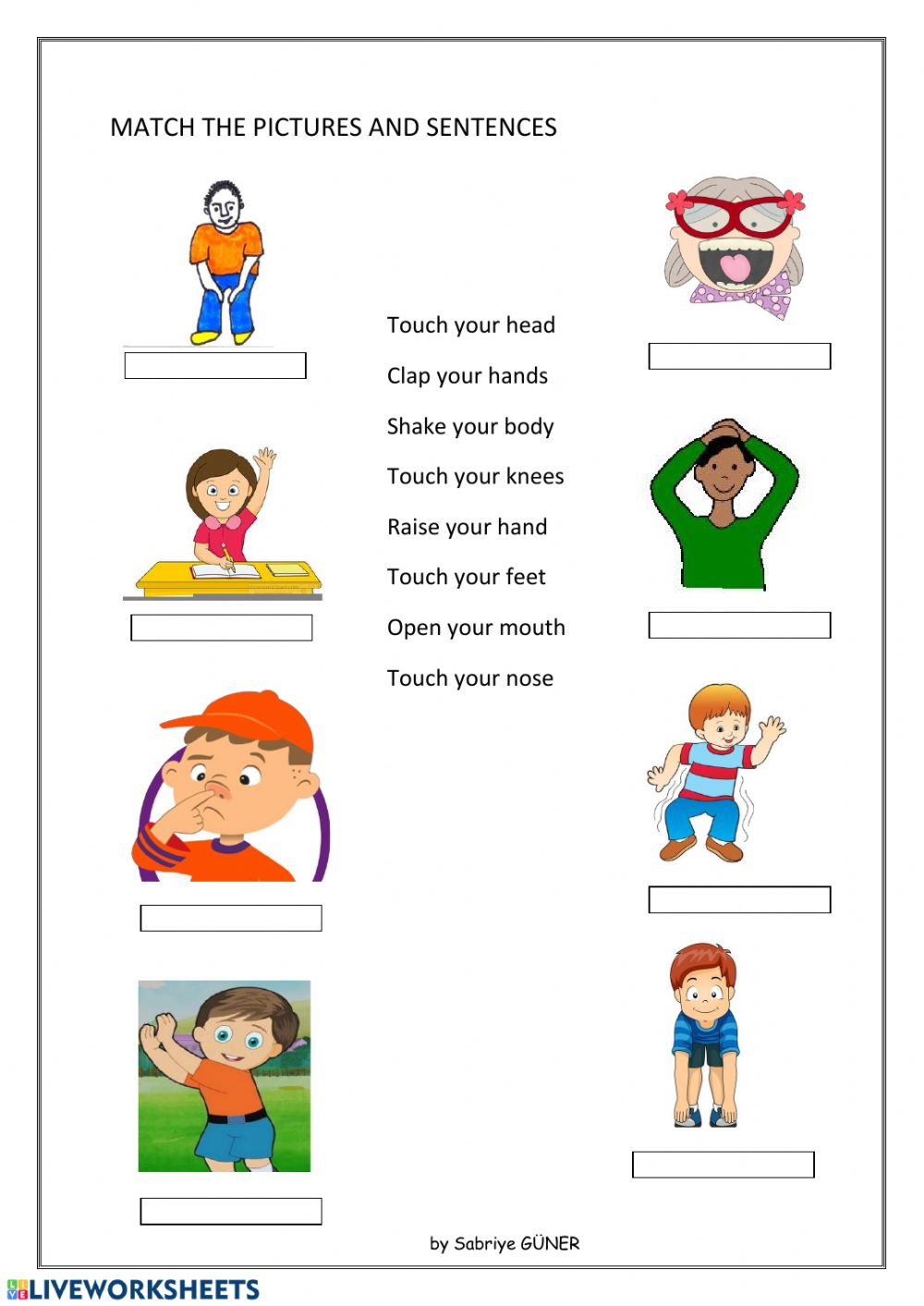hight resolution of Body movement interactive worksheet