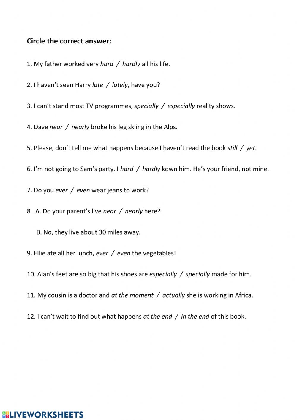 medium resolution of B2.2 Adverbs and adverbial phrases worksheet