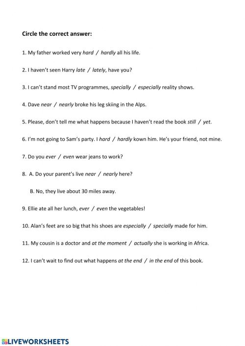 small resolution of B2.2 Adverbs and adverbial phrases worksheet