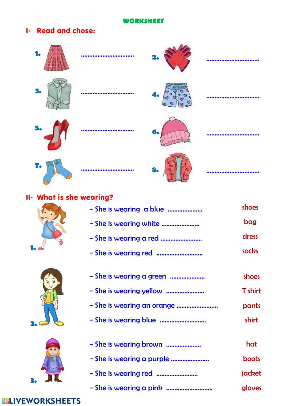 hight resolution of Clothes interactive activity for Grade 1