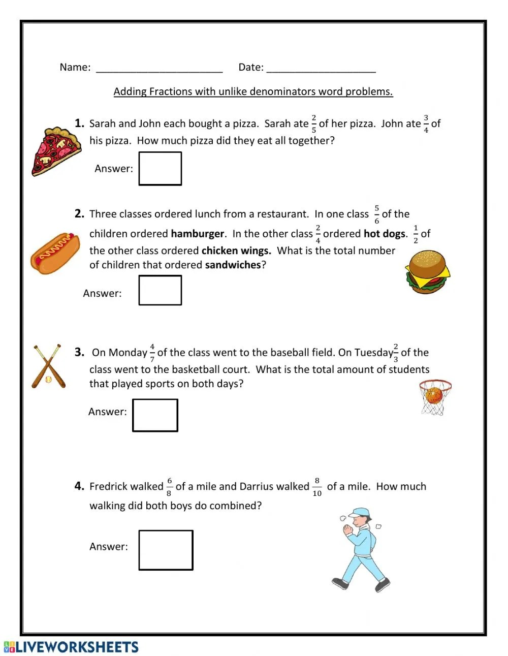 hight resolution of Adding fractions with unlike denominators worksheet