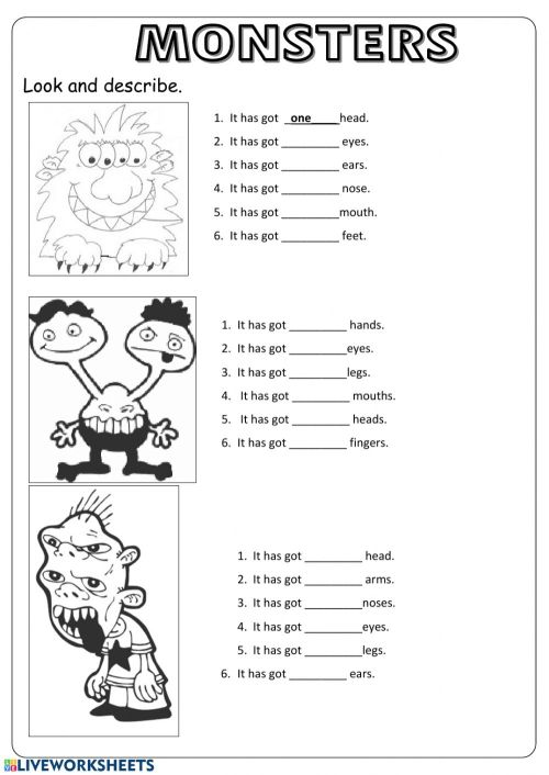 small resolution of Monster body parts worksheet