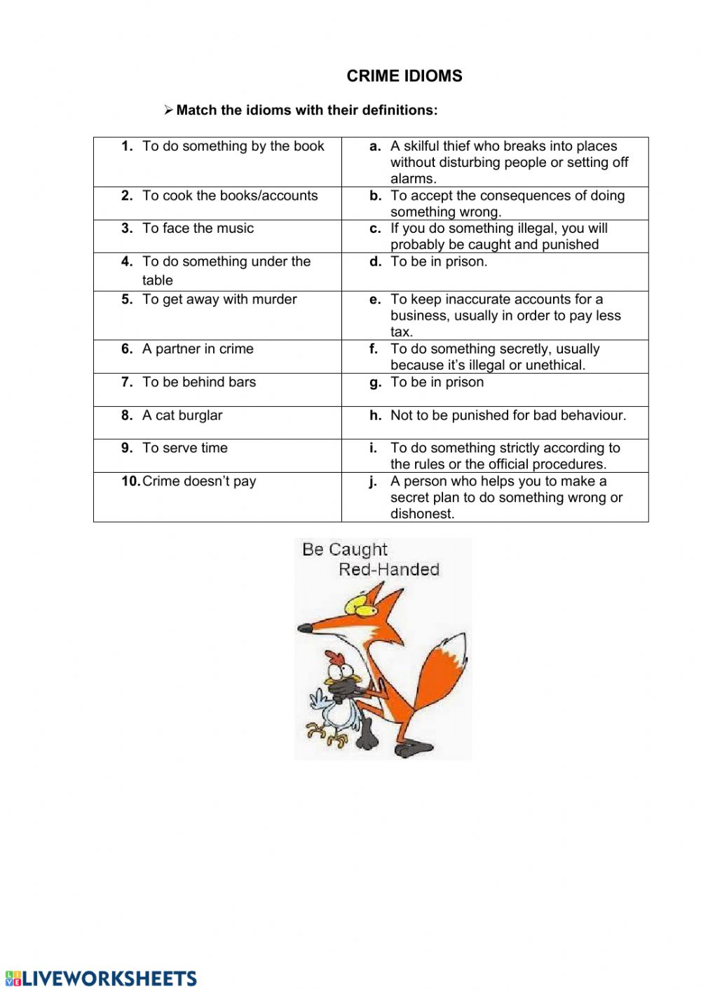 hight resolution of Crime idioms worksheet