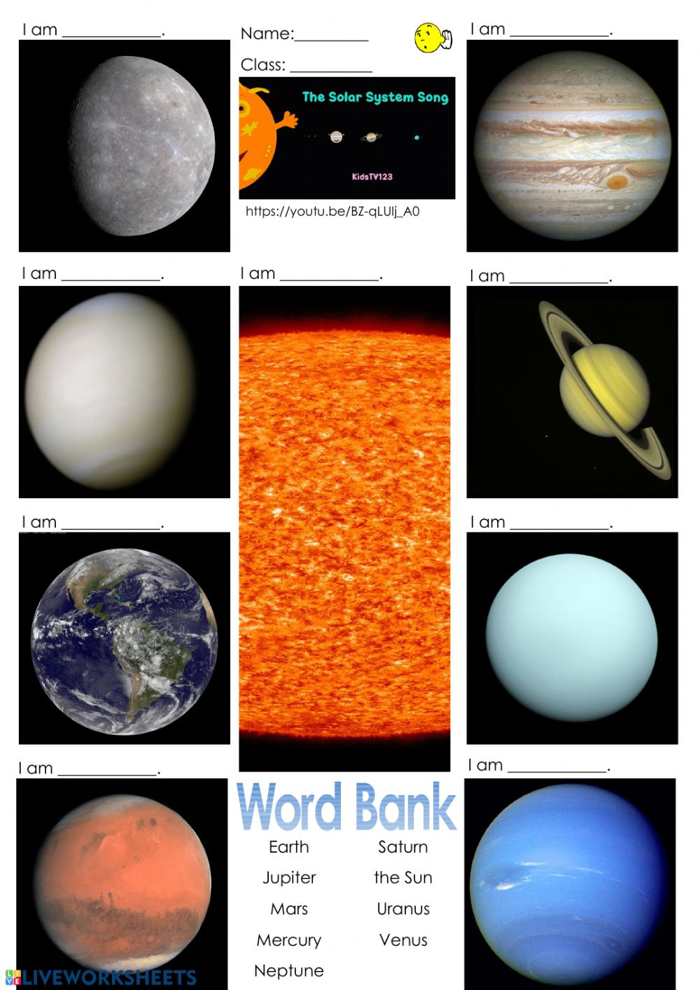 medium resolution of The Solar System Song worksheet