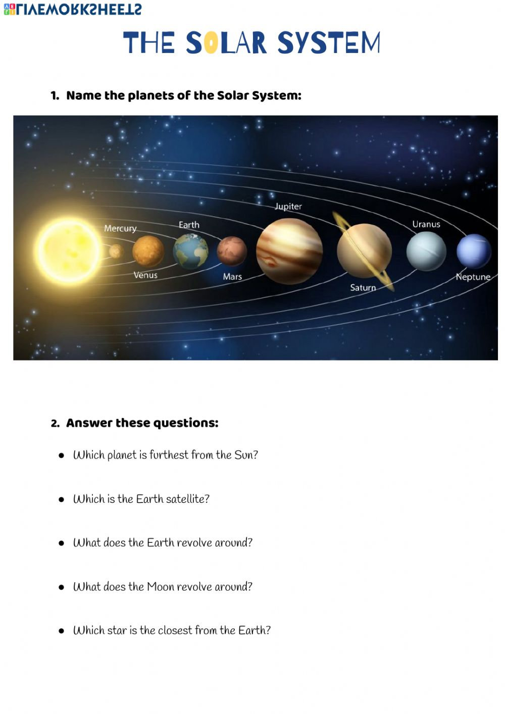 hight resolution of The Solar System online exercise