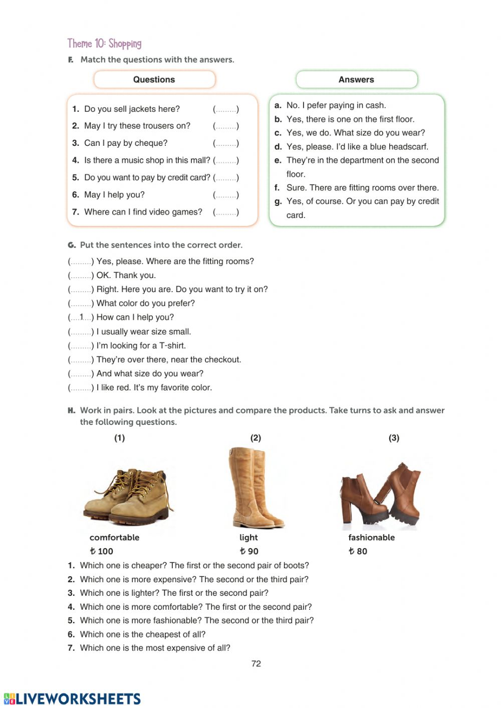 hight resolution of Grade 10 Theme 10 Shopping WB Page 72 worksheet