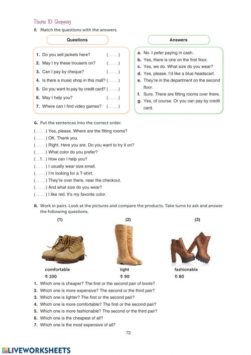 small resolution of Grade 10 Theme 10 Shopping WB Page 72 worksheet