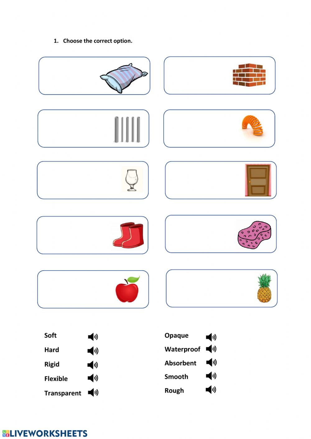 hight resolution of Properties of materials interactive worksheet