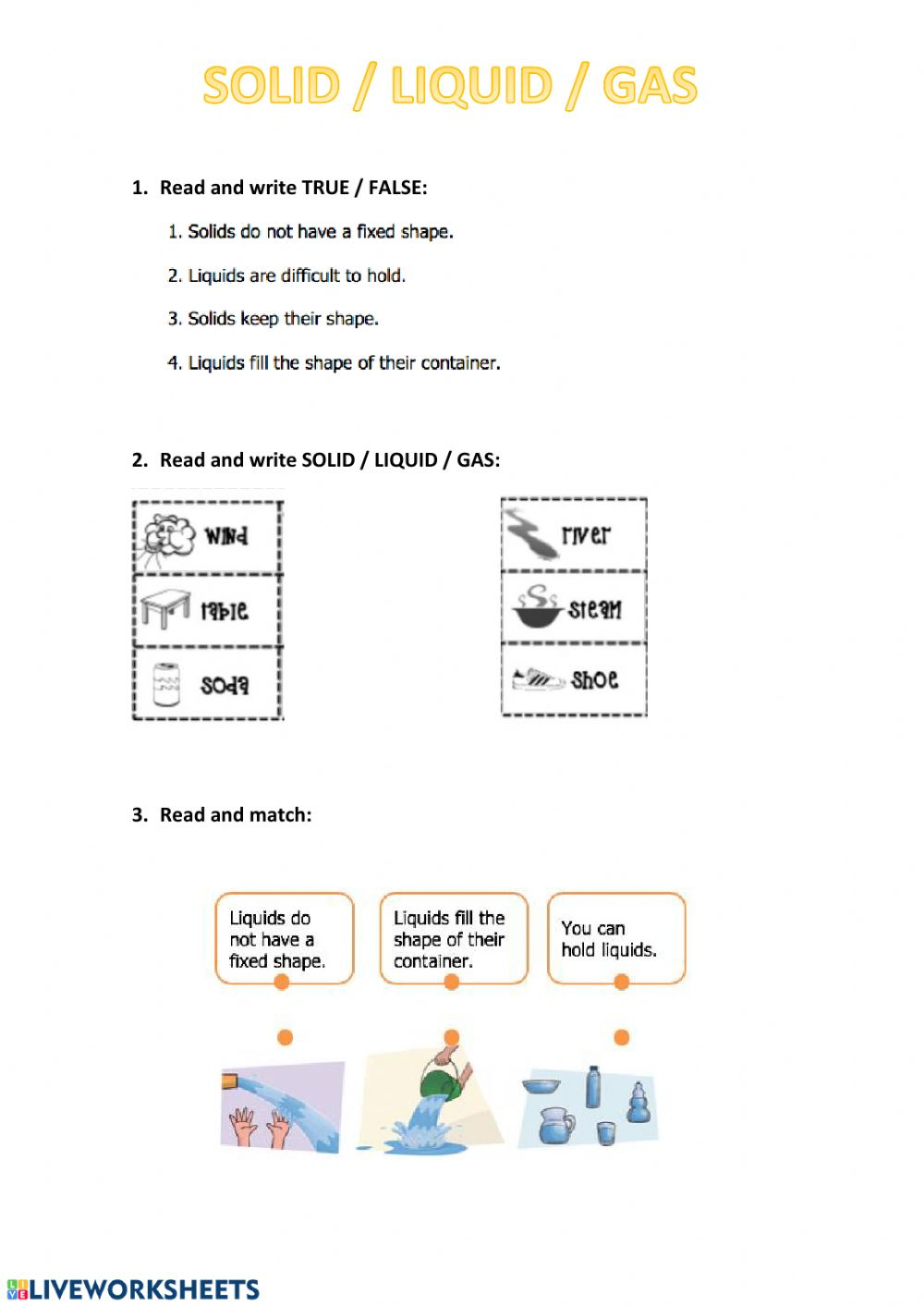 hight resolution of Solid liquid gas worksheet