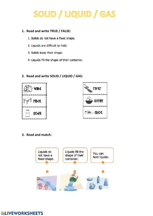 small resolution of Solid liquid gas worksheet
