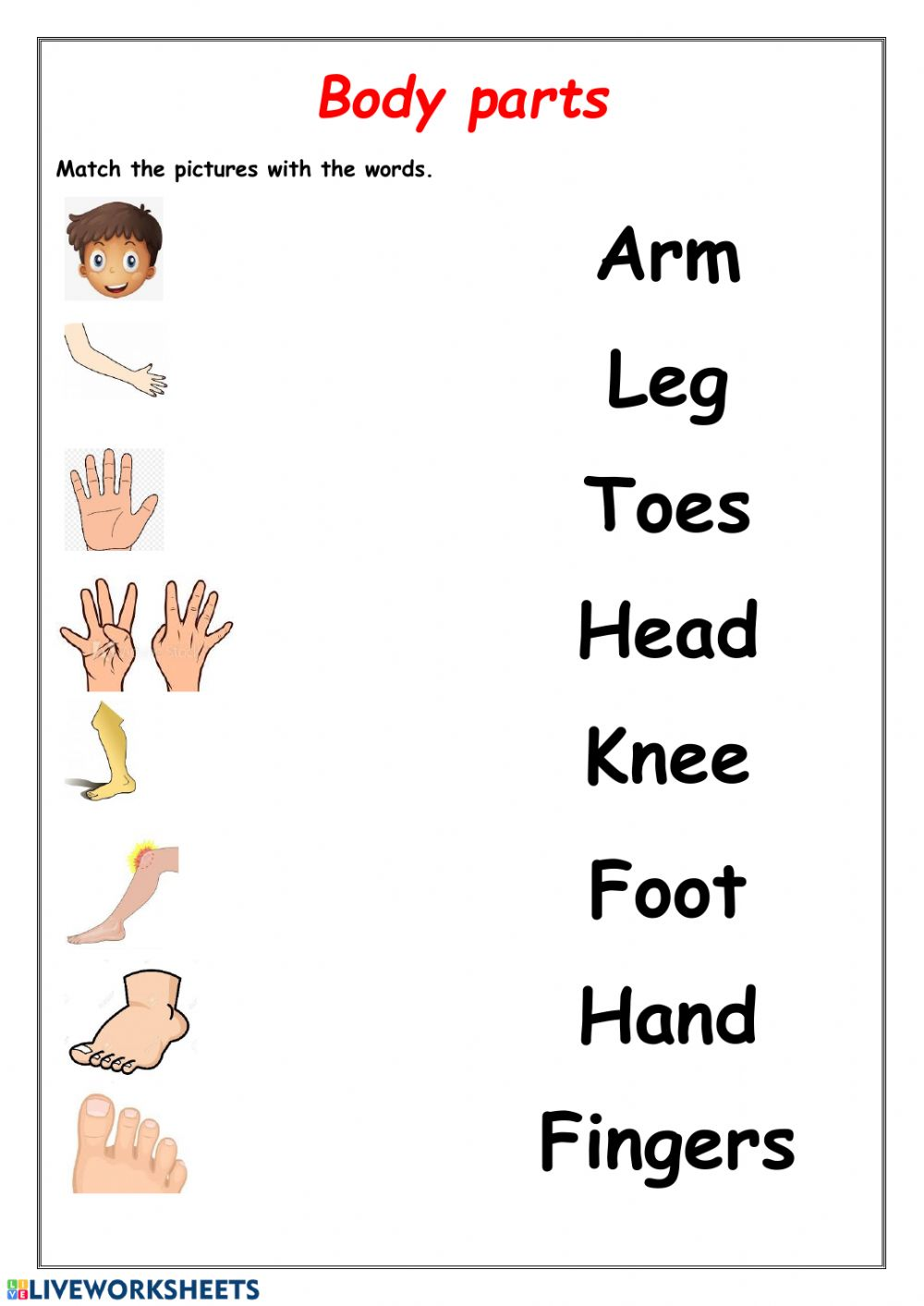 medium resolution of Body parts activity for 1