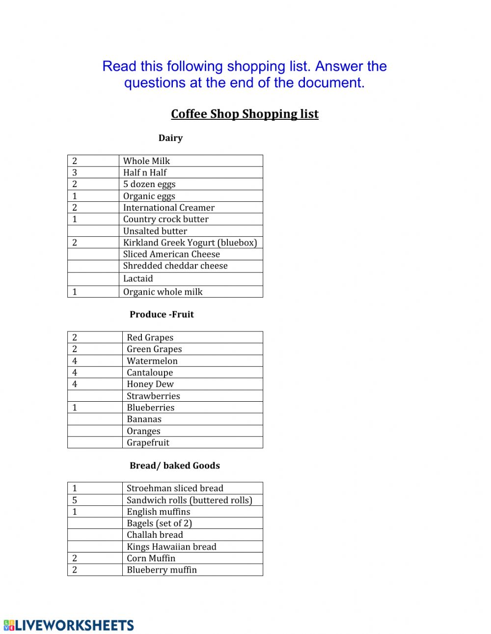 hight resolution of Coffee Shop Shopping list worksheet