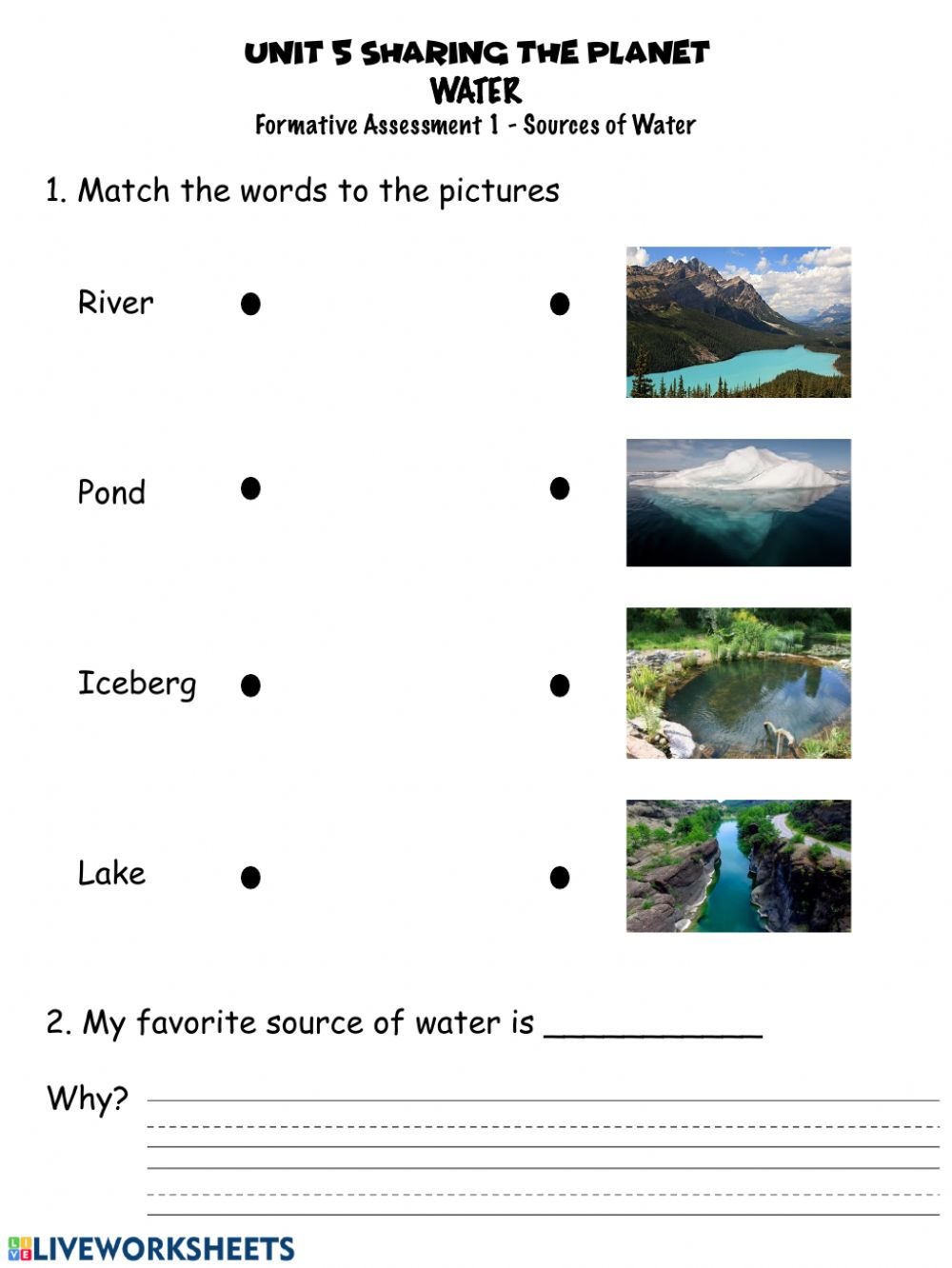 medium resolution of Sources of water worksheet