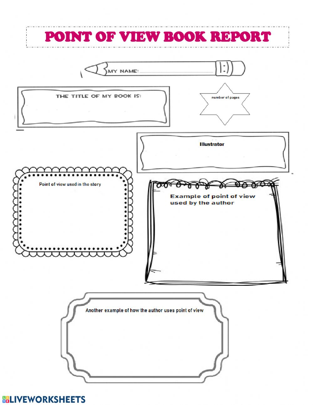 hight resolution of Point of View Book Report worksheet
