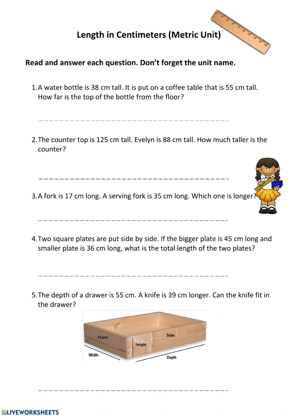 hight resolution of Basic Units of Measurement interactive worksheet