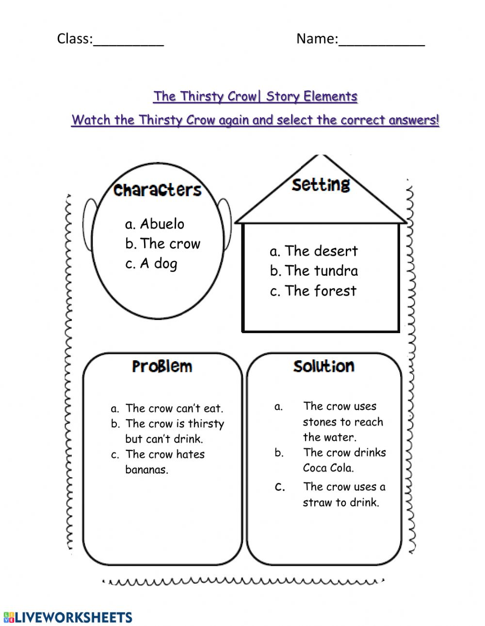medium resolution of Story Elements Review worksheet