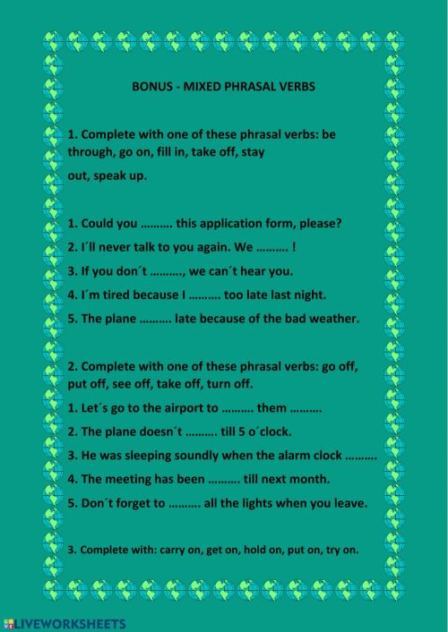 small resolution of Phrasal verbs online pdf activity for adv