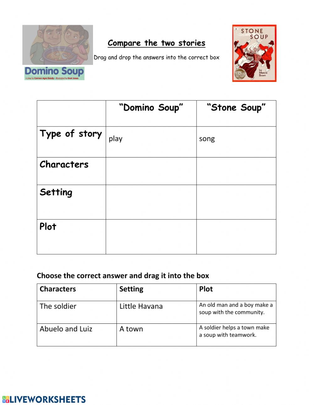 medium resolution of Compare Stone Soup and Domino Soup worksheet