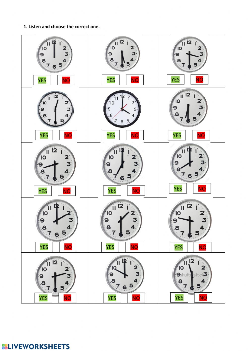 medium resolution of Hours o'clock and half past worksheet