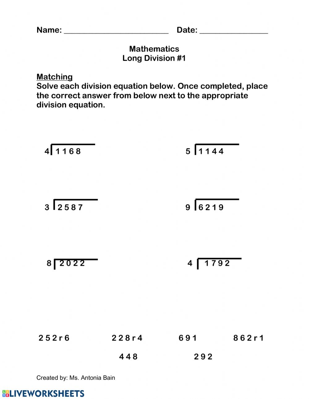hight resolution of Long Division with Single Digit Divisors worksheet