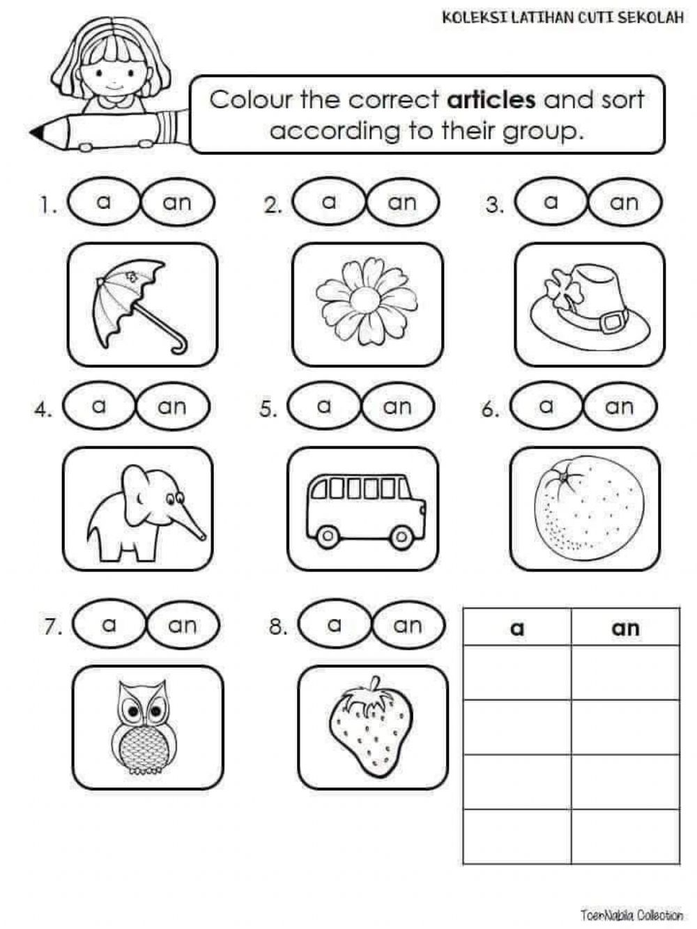 hight resolution of English interactive exercise for grade 1