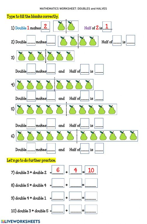 small resolution of Worksheet 15 DOUBLES and HALVES Further Practice worksheet