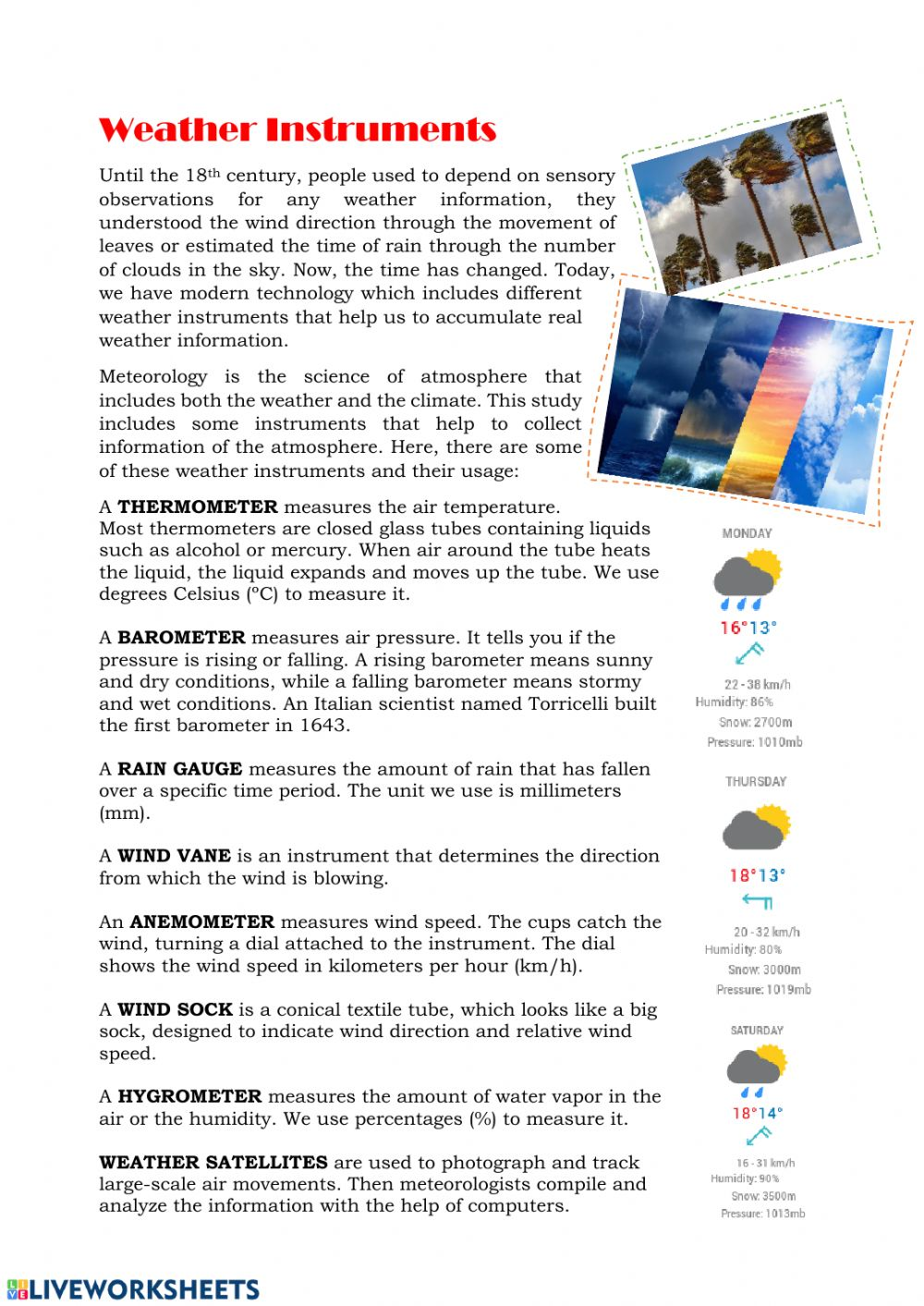 hight resolution of Weather instruments reading worksheet