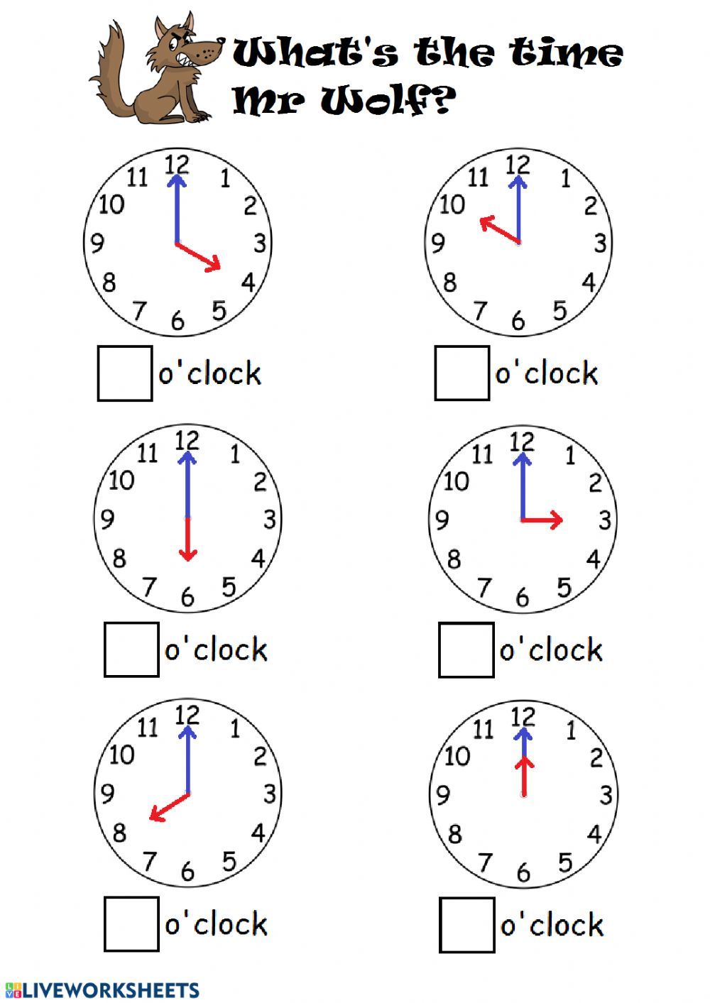 medium resolution of Telling time by the hour worksheet