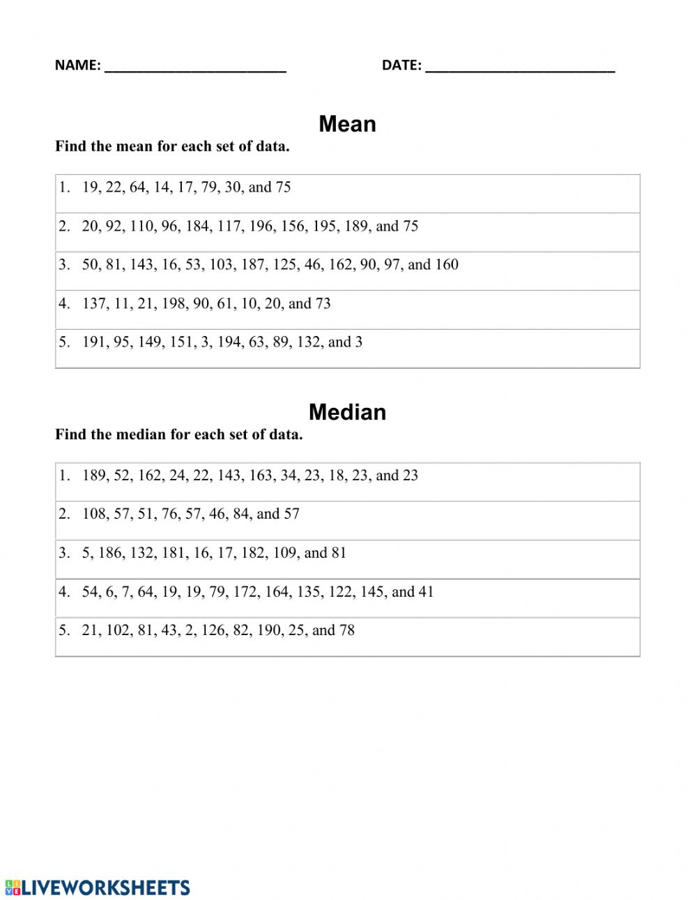 medium resolution of Finding mean