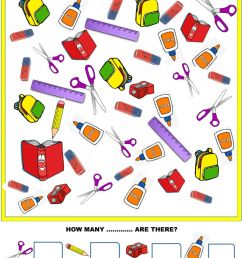 School objects interactive exercise for GRADE 1 [ 1413 x 1000 Pixel ]