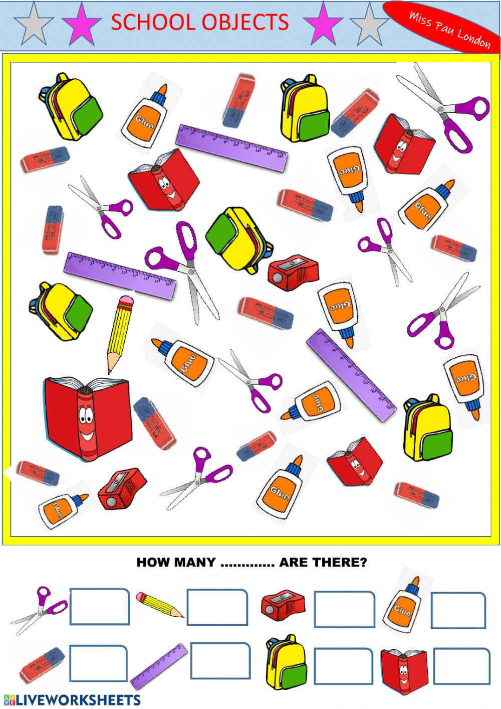 hight resolution of School objects interactive exercise for GRADE 1
