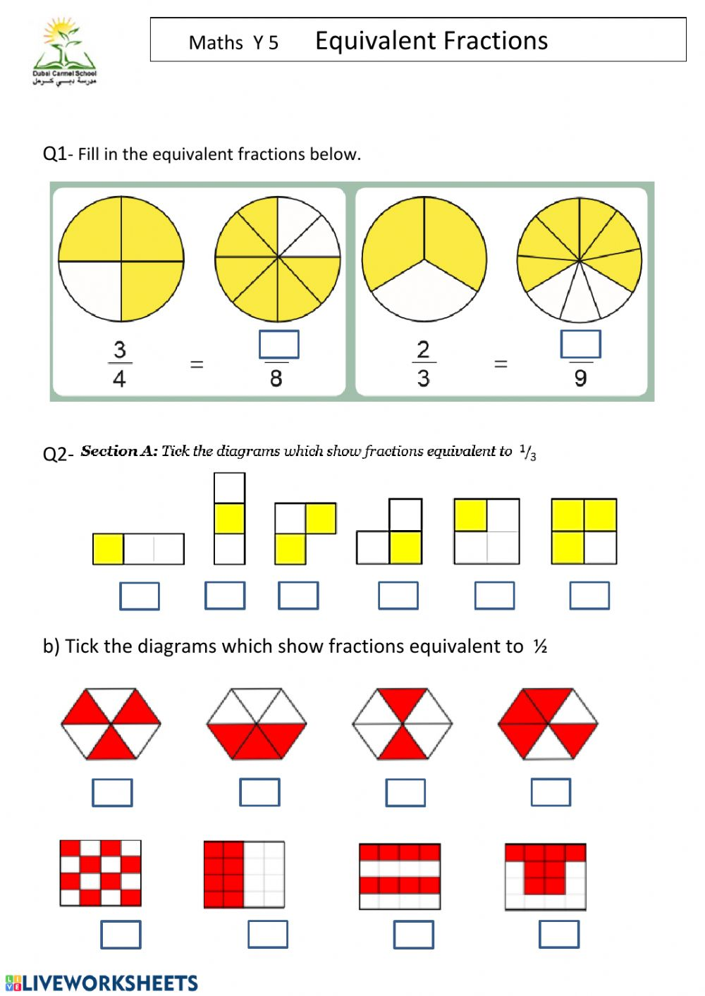 hight resolution of Equivalent Fractions worksheet