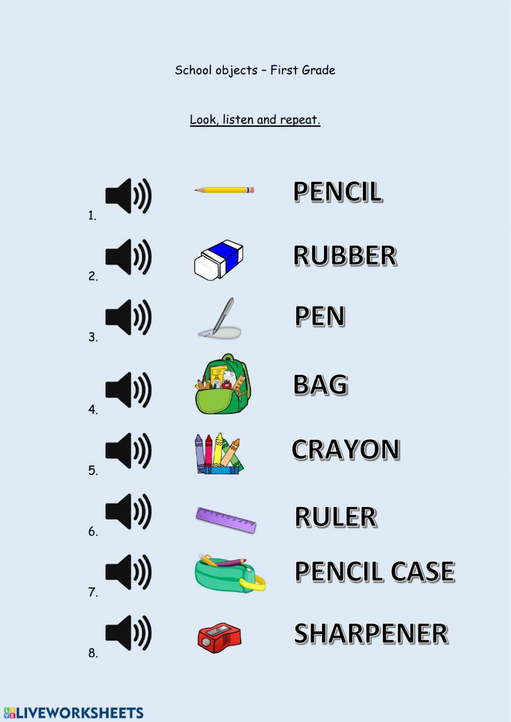 hight resolution of School objects - First Grade worksheet