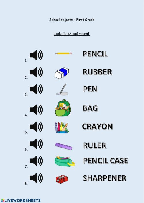 small resolution of School objects - First Grade worksheet